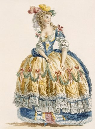 Lady's Elaborate Ball Gown, Engraved By Dupin, From by Augustin De Saint Aubin (1736-1807, France)
