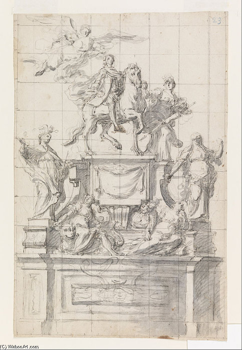 Sign For A Monument To Emperor Charles Vi Of Naples by Baldassare De Caro (1689-1750, Italy)