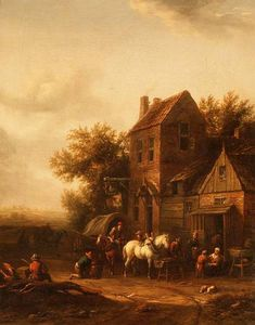 Barend Gael Or Gaal - Two Horsemen At A Blacksmith-s Forge