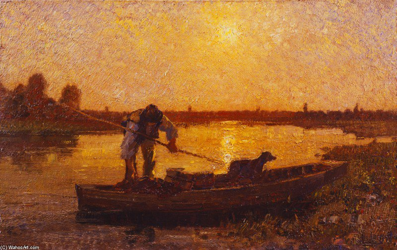 Evening Sul Sile by Beppe Ciardi (1875-1932, Italy)