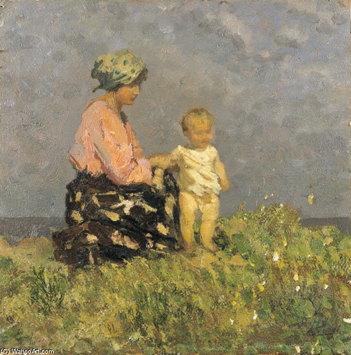 Joy Mother by Beppe Ciardi (1875-1932, Italy)