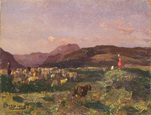 Beppe Ciardi - Landscape With Shepherds