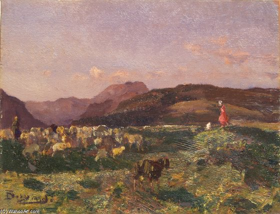 Landscape With Shepherds by Beppe Ciardi (1875-1932, Italy)