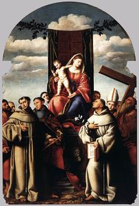 Bernardino Licinio - Virgin And Child Enthroned With Saints