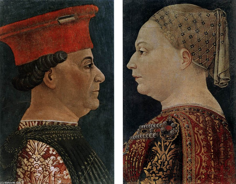 Order Art Reproduction : Portraits Of Francesco Sforza And Bianca Maria Sforza by Bonifazio Bembo (1447-1477, Italy) | ArtsDot.com