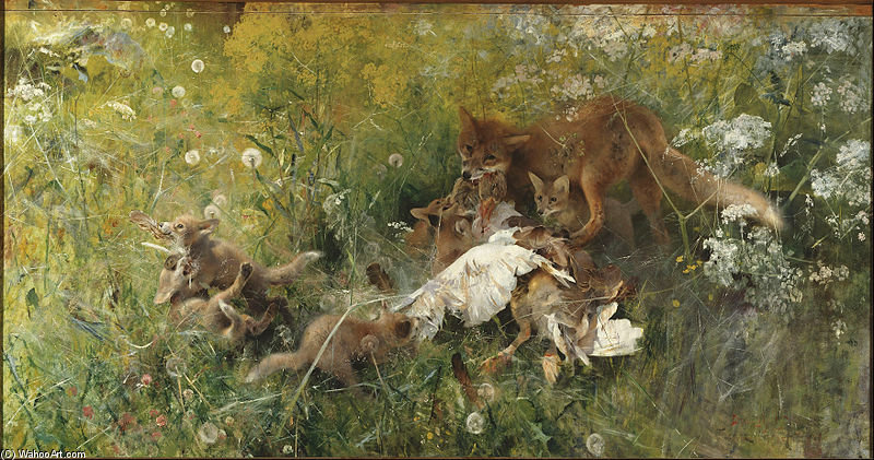 A Fox Family by Bruno Andreas Liljefors (1860-1939, Sweden)