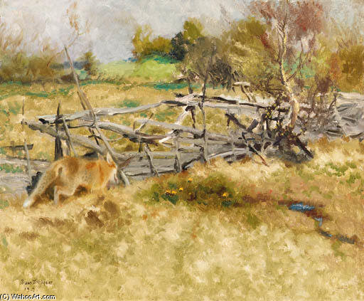 Fox By The Fence by Bruno Andreas Liljefors (1860-1939, Sweden) | Painting Copy | ArtsDot.com