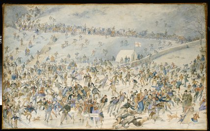 Figures Ice Skating by Charles Altamont Doyle (1832-1893, United Kingdom)