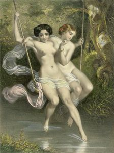 Charles Bargue - Two Ladies On A Swing