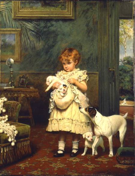 Girl With Dogs - by Charles Burton Barber (1845-1894, United Kingdom)