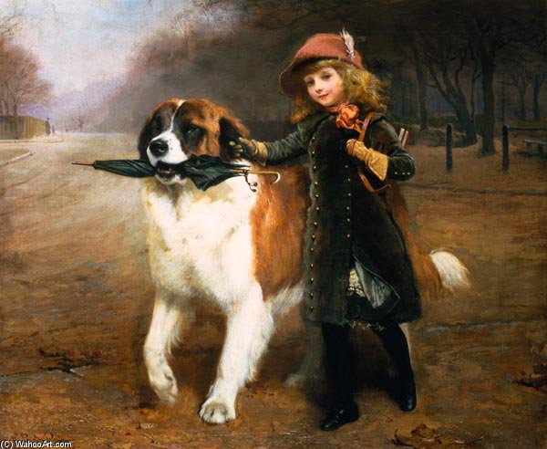 Off To School - by Charles Burton Barber (1845-1894, United Kingdom)
