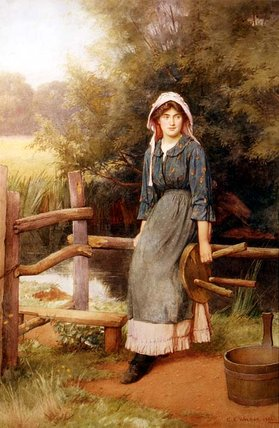 At The Stile by Charles Edward Wilson (1854-1941, United Kingdom) | Painting Copy | ArtsDot.com