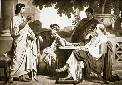 Virgil, Horace And Varius At The House Of Maecenas by Charles François Jalabert (1819-1901, France)
