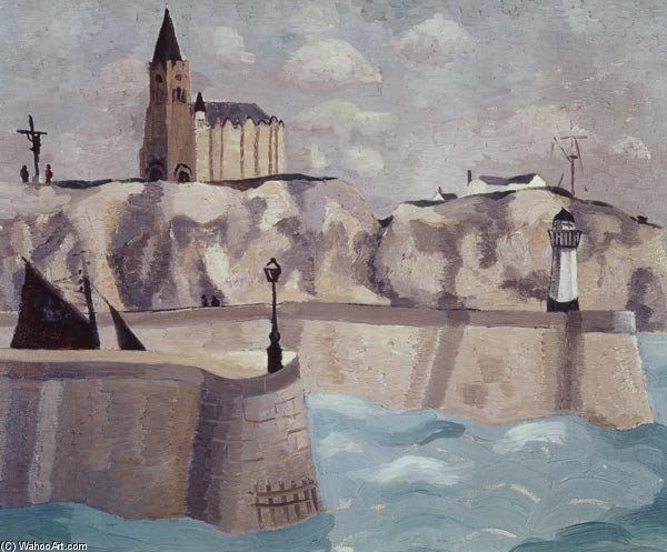 Church On The Cliff, Dieppe by Christopher Wood (1901-1930, United Kingdom) | ArtsDot.com