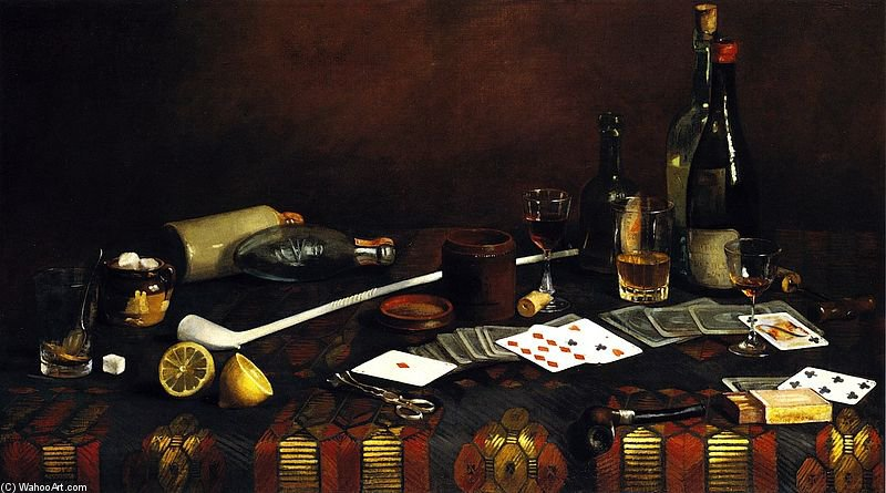 A Gentleman`s Table by Claude Raguet Hirst (1855-1942, United States) | Oil Painting | ArtsDot.com