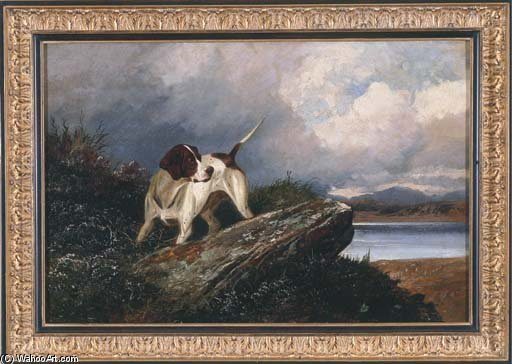 A Pointer In A Landscape by Colin Graeme Roe (1858-1910, United Kingdom)