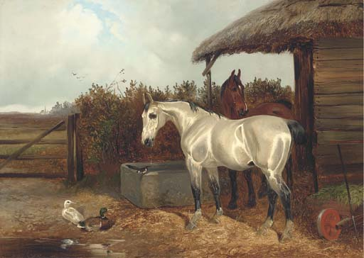 Horses At A Trough by Colin Graeme Roe (1858-1910, United Kingdom)