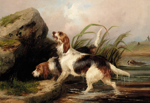 Otter Hounds On The Scent by Colin Graeme Roe (1858-1910, United Kingdom)
