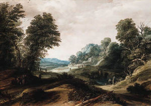 Cornelis Claesz Van Wieringen - A Wooded Landscape With Tobias And The Angel