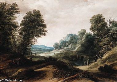 A Wooded Landscape With Tobias And The Angel by Cornelis Claesz Van Wieringen (1577-1633, Netherlands) | Paintings Reproductions Cornelis Claesz Van Wieringen | ArtsDot.com