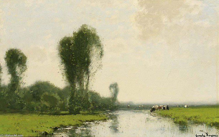 A River Landscape With Cows Near A Stream by Cornelis Kuypers (1864-1932, Netherlands)