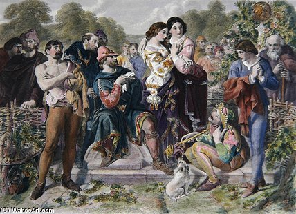 Orlando And The Wrestler by Daniel Maclise (1806-1870, Ireland)