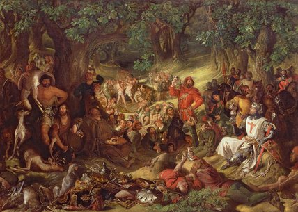 Robin Hood And His Merry Men Entertaining Richard by Daniel Maclise (1806-1870, Ireland)