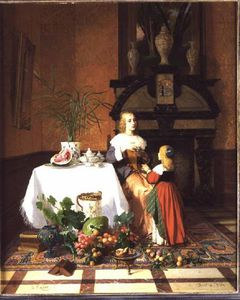David Emile Joseph De Noter - Interior With Figures And Fruit