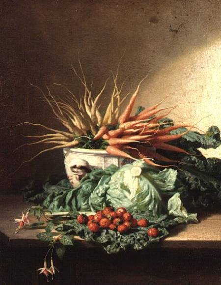 Still Life Of Strawberries, Carrots And Cabbage by David Emile Joseph De Noter (1818-1892, Belgium)