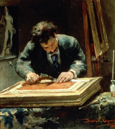 The Picture Framer by David Oyens (1842-1902, Netherlands) | Museum Art Reproductions | ArtsDot.com