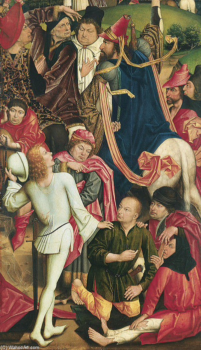 Knights And Soldiers Playing Dice For Christ's Robe by Derick Baegert (1440-1502, Germany)