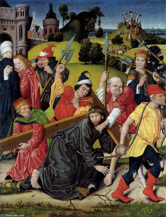 The Bearing Of The Cross by Derick Baegert (1440-1515, Germany)