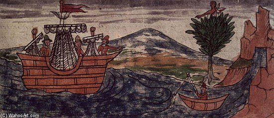 An Indian Spy Observes The Arrival Of A Spanish Ship On The Mexican Coast by Diego Homem | Reproductions Diego Homem | ArtsDot.com