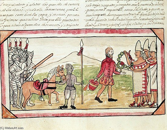 Meeting Of Hernando Cortes And Montezuma, Miniature From The 'hist' by Diego Homem