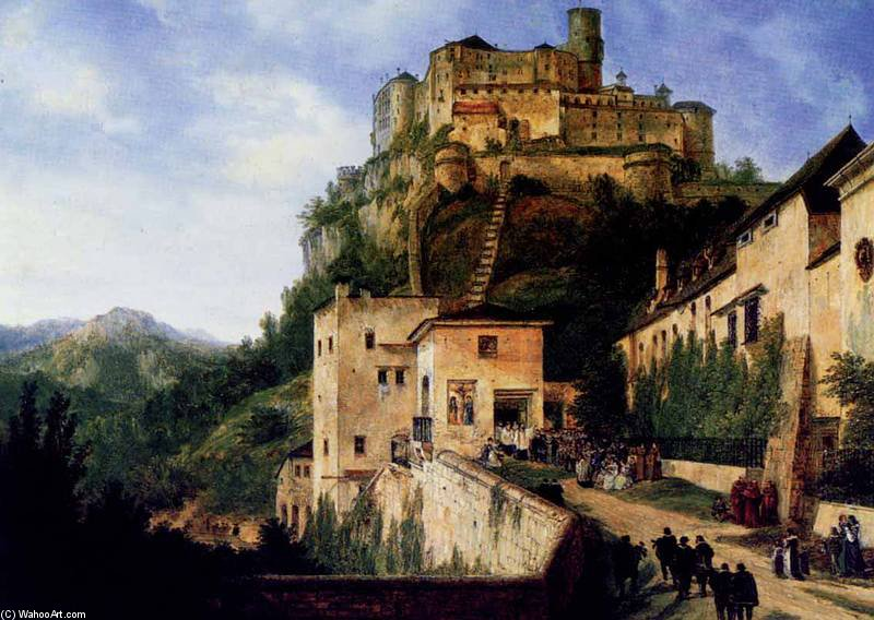 Festung Hohensalzburg In Salzburg by Domenico Quaglio (1787-1837, Italy) | Art Reproduction | ArtsDot.com