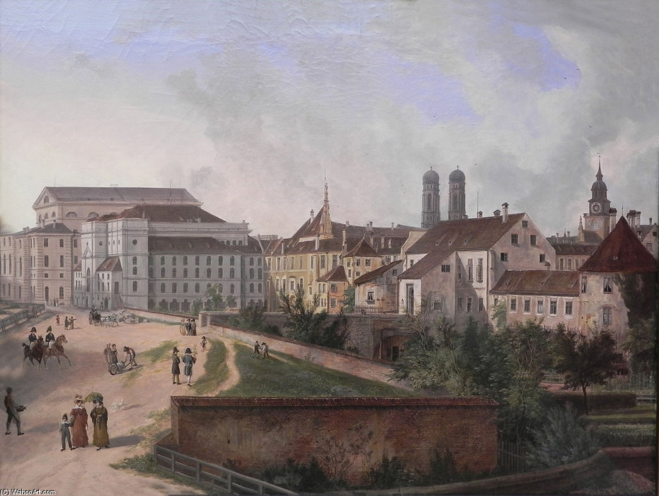The Royal Residence In Munich From The North East by Domenico Quaglio (1787-1837, Italy)