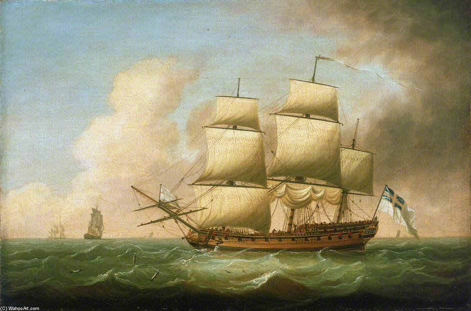 A Frigate by Dominic Serres (1722-1793, France) | Museum Art Reproductions Dominic Serres | ArtsDot.com