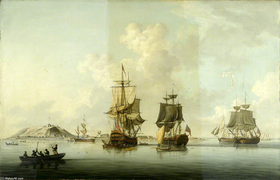 Attack On Goree - by Dominic Serres (1722-1793, France) | Paintings Reproductions Dominic Serres | ArtsDot.com