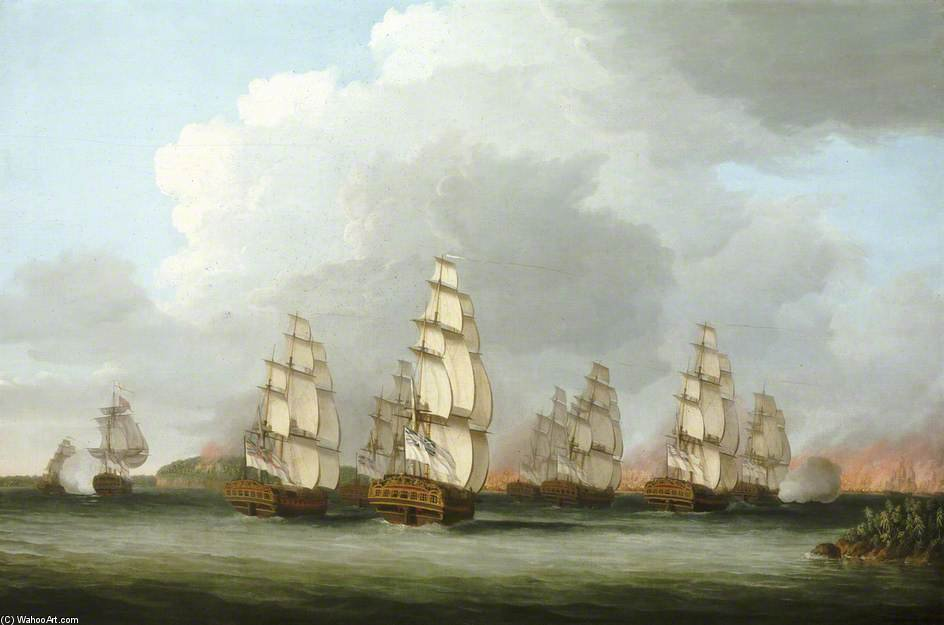 Destruction Of The American Fleet At Penobscot Bay by Dominic Serres (1722-1793, France) | Paintings Reproductions Dominic Serres | ArtsDot.com