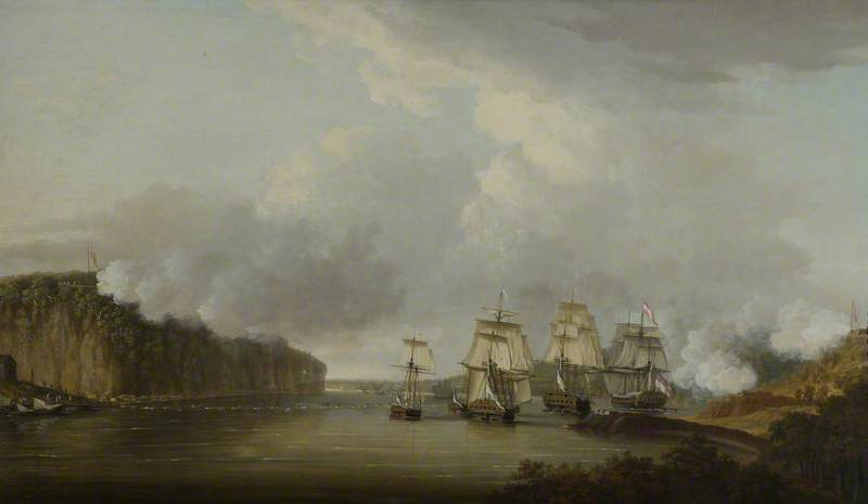 Forcing The Boom On The Hudson River by Dominic Serres (1722-1793, France) | Museum Quality Copies Dominic Serres | ArtsDot.com