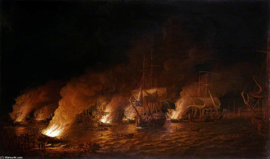 French Fire-ships Attacking The English Fleet Off Quebec by Dominic Serres (1722-1793, France) | Reproductions Dominic Serres | ArtsDot.com