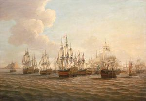 Dominic Serres - Rodney-s Fleet Taking In Prizes After The Moonlight Battle