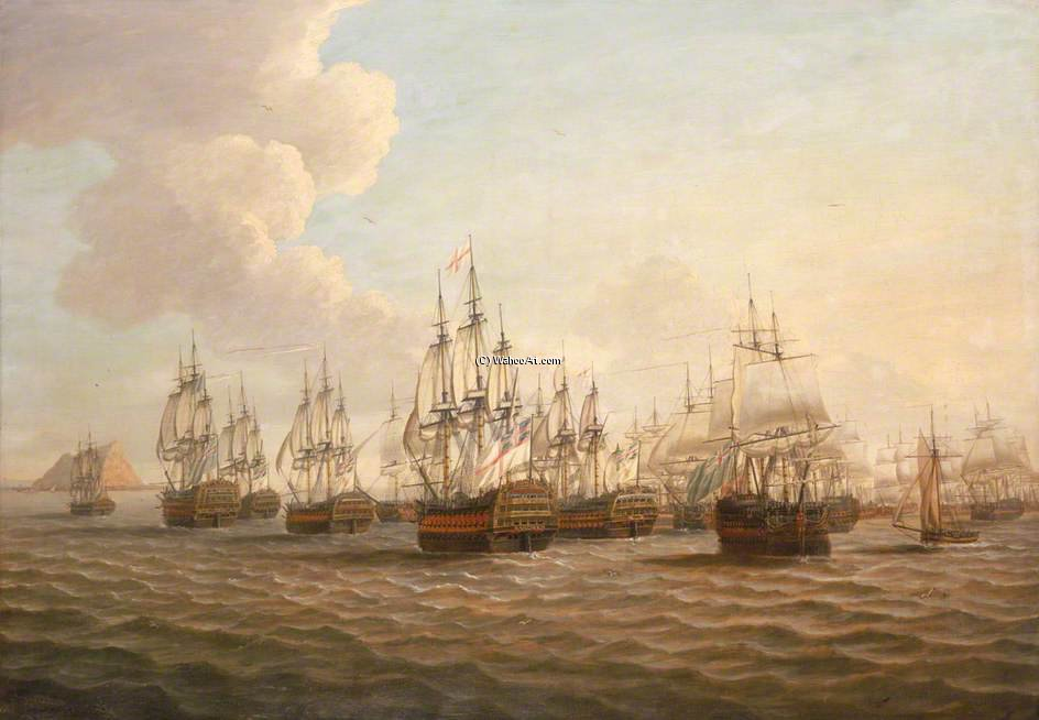 Rodney`s Fleet Taking In Prizes After The Moonlight Battle by Dominic Serres (1722-1793, France) | Museum Art Reproductions Dominic Serres | ArtsDot.com