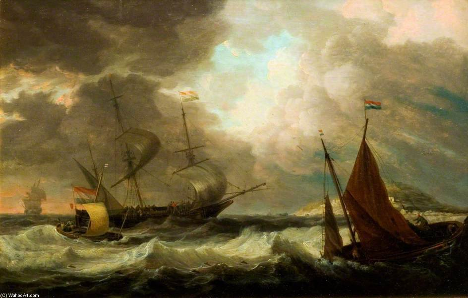 Ships In A Gale by Dominic Serres (1722-1793, France) | Museum Quality Copies Dominic Serres | ArtsDot.com