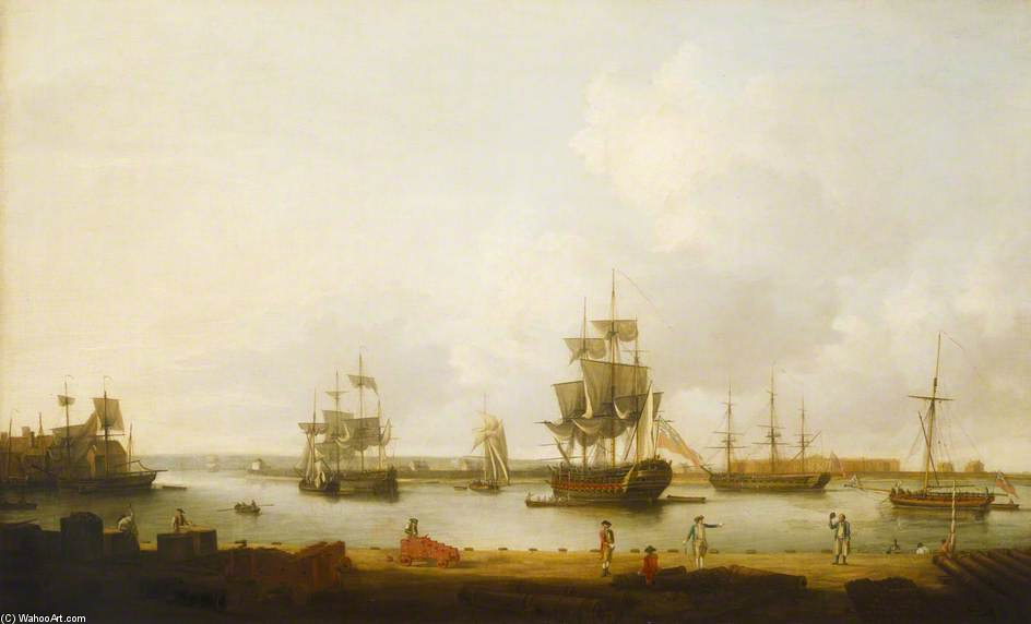 Ships Off The Gun Wharf At Portsmouth by Dominic Serres (1722-1793, France) | Museum Quality Copies Dominic Serres | ArtsDot.com