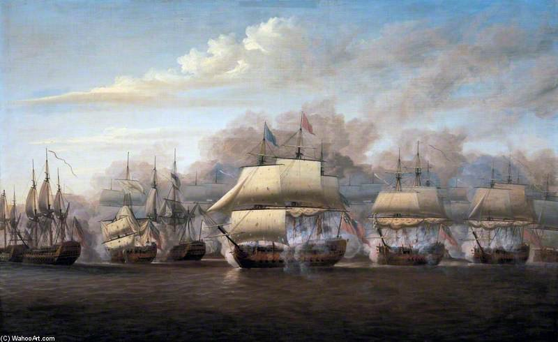 The Action Off Providien by Dominic Serres (1722-1793, France) | Reproductions Dominic Serres | ArtsDot.com