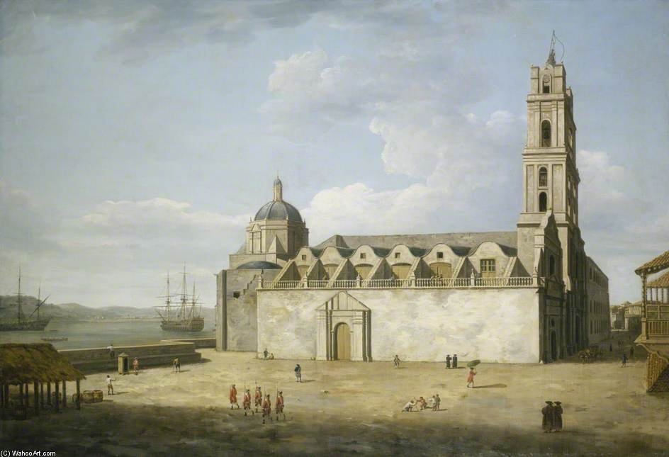 The Cathedral At Havana by Dominic Serres (1722-1793, France) | Museum Quality Copies Dominic Serres | ArtsDot.com