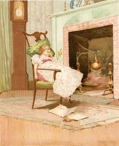 Edward Percy Moran - Dreaming Before The Old Firepl..
