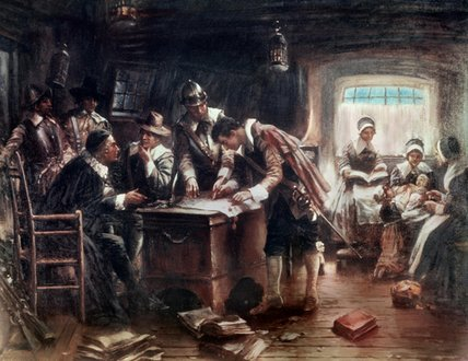 The Signing Of The Mayflower Compact by Edward Percy Moran (1829-1901, United Kingdom)