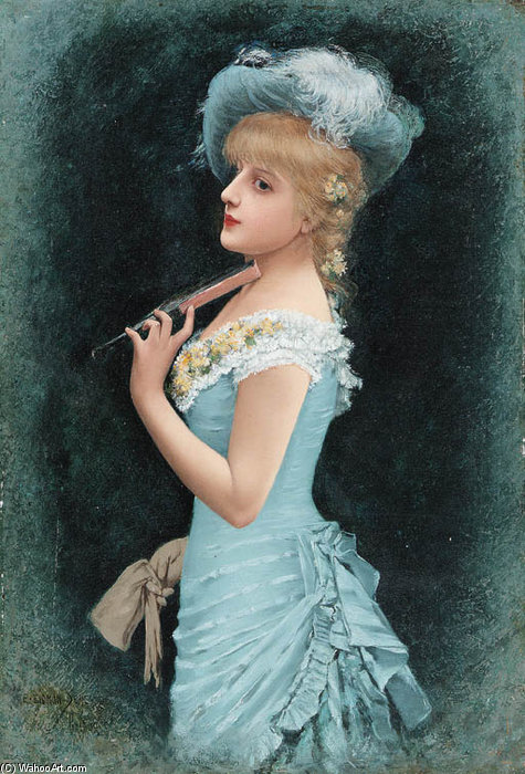 A Parisian Beauty by Emile Eisman Semenowsky (1859-1911)